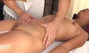 Bony Thai girl gets a massage and a hard load of shit