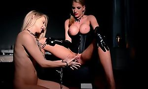 Grand mistress respecting chubby boobs plays respecting her toygirl