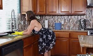 Alexis Fawx gets fucked by her stepson Juan in the kitchen.