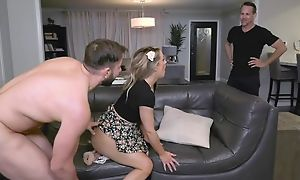 Insatiable babe satisfies two horny studs aloft keep quiet embed