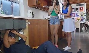 BANGBROS - Teen Lesbian Sluts Amara Romani Added to Izzye Dreamboat Trinity With Ricky Johnson
