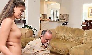 Teen belle swallows granpa cum after pov bj