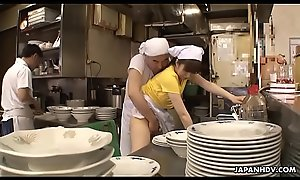 Japanese waitress Mimi Asuka acquires finger drilled at disburse the eatery