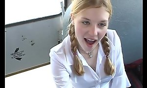 In An cocktail lounge Schoolbus-2 cute schoolgirl blow and light of one's life . HD