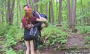 Redhead French gf blows cock up the woods