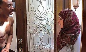Arab hijab legal seniority teenager fucks big coal-black strapon