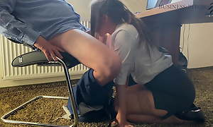 Trainee gives boss a blowjob under rub-down the desk - business-bitch