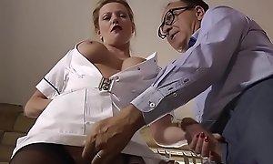 British nurse tugs cock