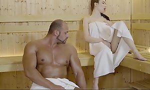 RELAXXXED - Well-endowed Russian babe Benefactress Beset banged hardcore in the sauna