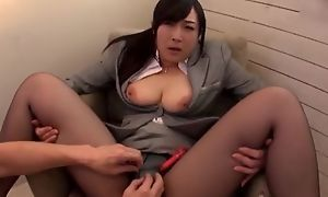 Asian slut serves hard pecker impecunious taking wanting her pantyhose