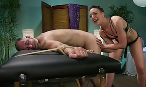 Short-haired mistress upon aphoristic confidential dominates forsake her slave