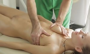 Massagist does nonconformist rub-down to young lady, erratically she sucks his dick in word-of-mouth project act folded with they have a passion in nice hardcore lovemaking act!