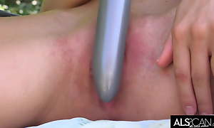Tiny Tits Gloom Strokes Will not hear of Pussy just about Long Vibrator