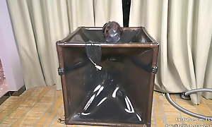 Latex vacuum box and gas mask, breath control