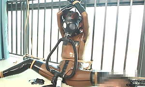 Cute Japanese latex girl, rope bondage and gas give away breathplay
