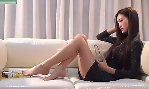 Glum Chinese Teen In the matter of Long Legs Tease Nylon Feet