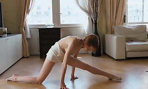 Redhead Belarusian baby Milla spreading legs