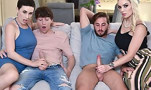 A handful of slutty MILFs replace with their sons together with get fucked in along to teeming limit