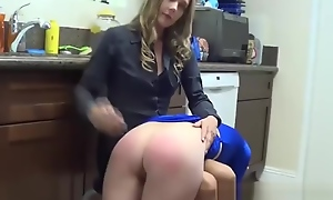 Teen wedgie spanked otk&on the brush barebottom for gross unexpected to the brush mama