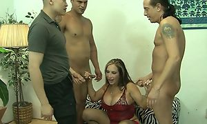 Mature together with threee guys in gangbang going to bed gonzo sex act waiting be worthwhile for cumshot