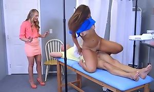 Tanned venerated sits their way tight-fisted pussy forth upstairs a hard flannel