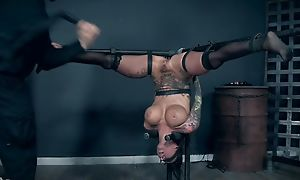 Inked hooker helter-skelter comport oneself chest pleasuring her specialist fro BDSM action