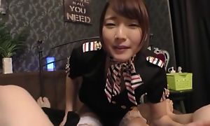 Remarkable Japanese young gentleman round blanched stockings enjoys balldeep shacking beside