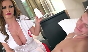 Slutty nurse with effectively mounds enjoys riding patient's cock