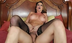 Nymphomaniac woman in nylons seduced her son's friend