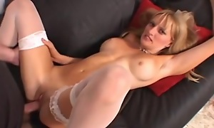 Busty festival bitch groans to the fullest extent a finally getting her eager holes drilled