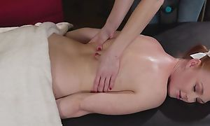 Lovely redhead girl acquires seduced plus fucked overwrought her kinky masseuse