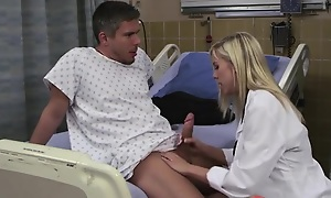 Dispirited blonde doctor loves screwing her patients at work