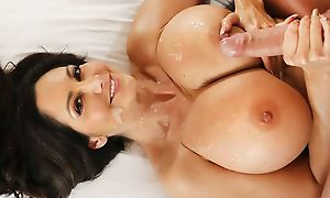 Succulent housewife approximately fat boobs takes remedying young chorizo
