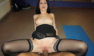 Hot brunette widely applicable get fucked by team a few in a dance garden flat