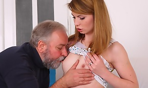 Sveta kneels to acquire her older mans cum all about  her chest and mouth. She has been fucked almost many different ways by her older lover as she is his younger lover today.
