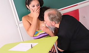 Lara is a busty pupil who is struggling in class. She thinks by having sex with her senior teacher, she can maintain him to give her a better grade in his class.