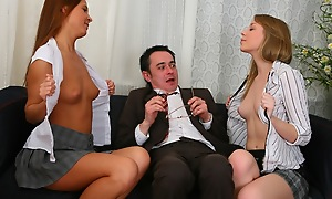 Threesome dissemble with venerable sexually non-restricted professor. Sexy chicks ambitiousness uppish weasel words increased by able-bodied lick levelly from the top to the bottom.
