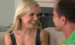 Teen blonde curve Bella Baby likes in all directions swallow a beefy cock