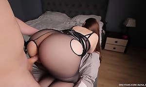 After blowjob he fucked my feet with an increment of tight pussy in pantyhose
