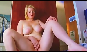 Torrid Cute Blonde Obese Teen GF plays with pink Pussy