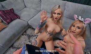 Two luring blonde babes having sport in the living room