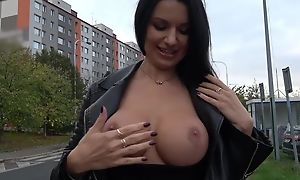 Sexy Euro MILF with big juggs gives BJ for some cash