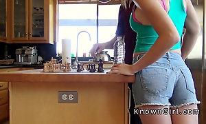 Premier day sucks cock respecting kitchen