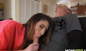 Stepmom Dava Foxx threesome down despondent Zoe Parker and her BF