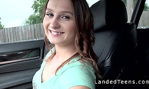 Teen cuttie bangs handsome stranger in car